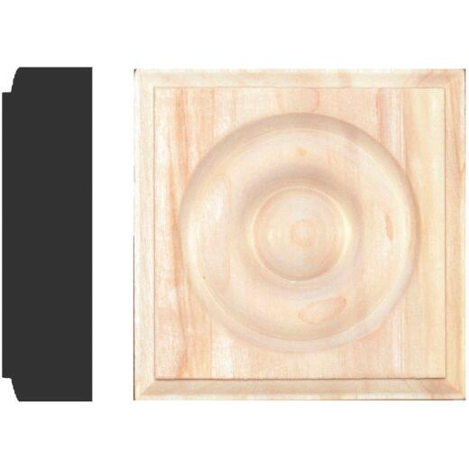 House of Fara 7/8 In. x 3-1/4 In. Unfinished Hardwood Rosette Block