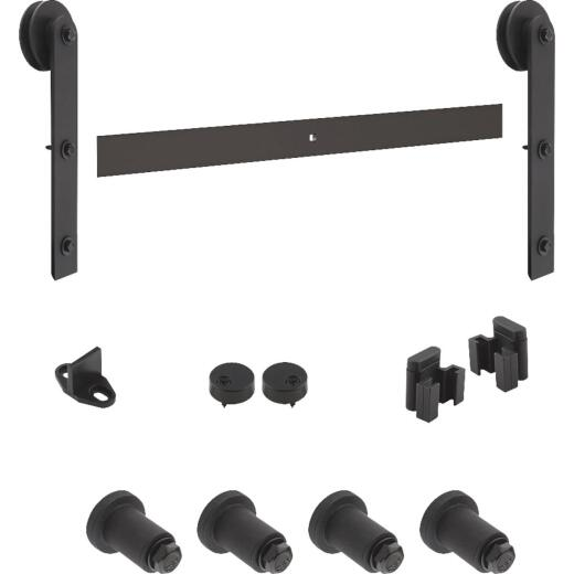 National Black Interior Sliding Barn Door Track Hardware Kit