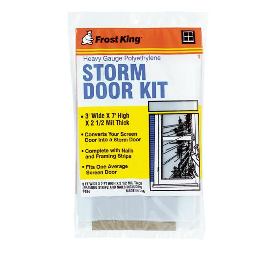 Frost King Outdoor 3 Ft. x 7 Ft. x 2. 5 Mil. Thick Storm Door Kit