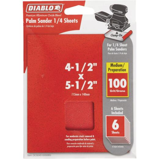 Diablo Clamp-On 100 Grit 4-1/2 In. x 5-1/2 In. 1/4 Sheet Sandpaper (6-Pack)