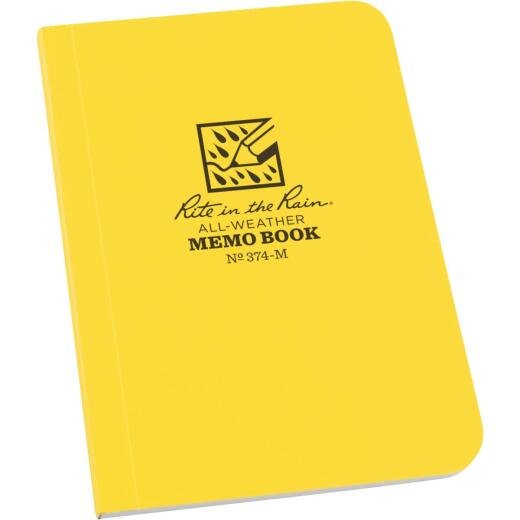 Rite in the Rain 3-1/2 In. W. x 5 In. H. Yellow 56-Sheet Soft Cover Side Bound All-Weather Memo Pad