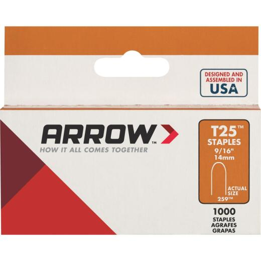 Arrow T25 Round Crown Cable Staple, 9/16 In. (1000-Pack)