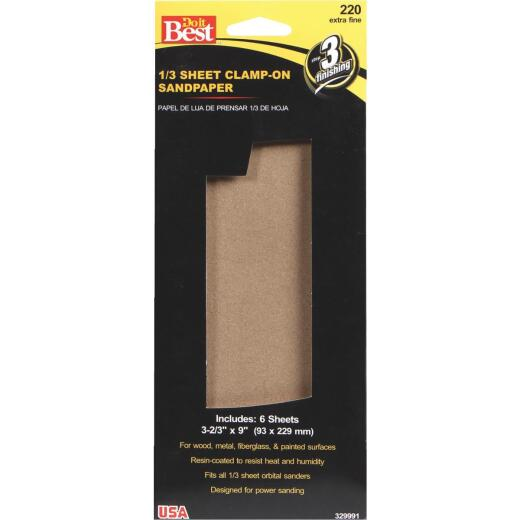 Do it Best Aluminum Oxide 220C Grit 1/3 Sheet Power Sanding Sheet (6-Pack)
