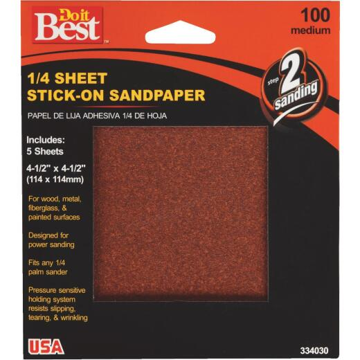 Do it Best Stick-On 100 Grit 1/4 Sheet Power Sanding Sheet (5-Pack)