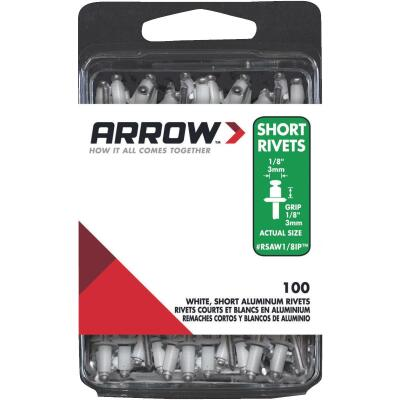 Arrow 1/8 In. x 1/8 In. White Aluminum IP Rivet (100 Count)