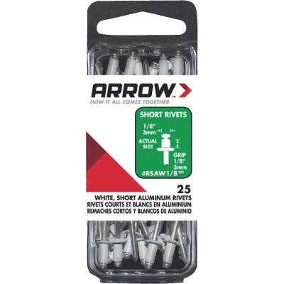Arrow 1/8 In. x 1/8 In. White Aluminum Rivet (25 Count)