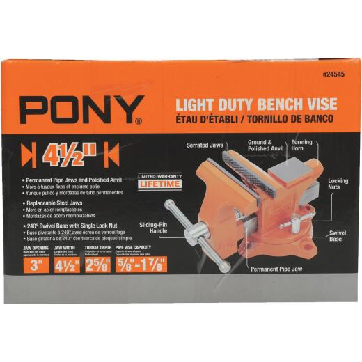 Pony 4-1/2 In. Light-Duty Bench Vise with Swivel Base