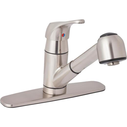 Home Impressions Single Handle Lever Pull-Out Kitchen Faucet, Brushed Nickel