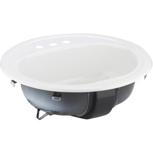 Briggs Anderson Round Drop-In Oval Bathroom Sink, White