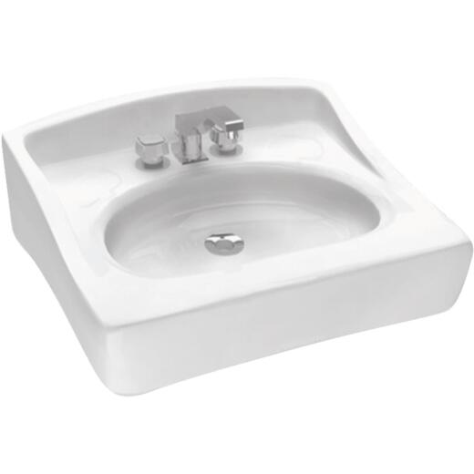 Cato Caribe Rectangle Wall Hung Bathroom Sink, White