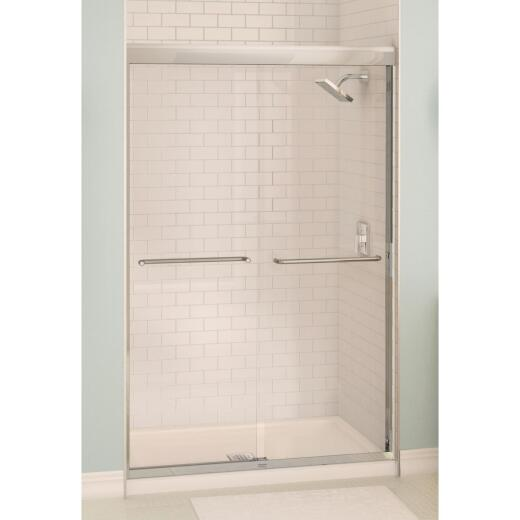 Maax Aura 48 In. W. X 71 In. H. Brushed Nickel Frameless Clear Glass Sliding Shower Door