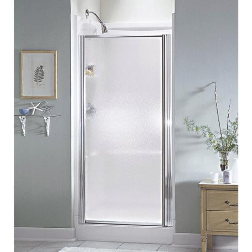 Sterling 36 In. W. X 64 In. H. Chrome Hammered Glass Standard Pivot Shower Door