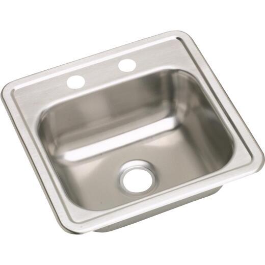 Elkay Single Bowl 15 In. Square Stainless Steel Bar Sink