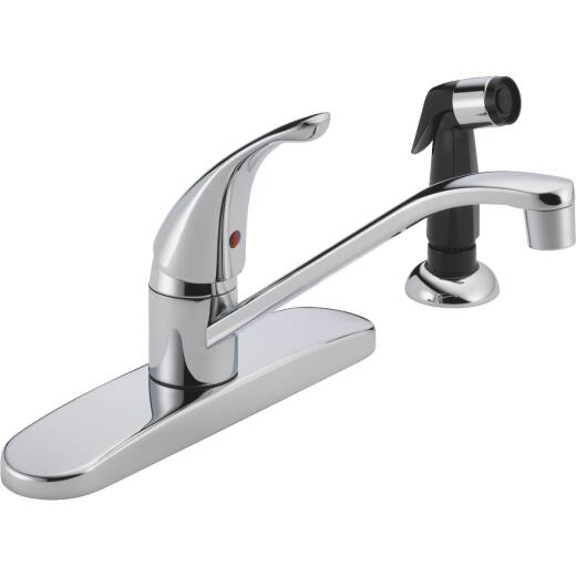 Peerless Single Handle Lever Kitchen Faucet with Black Side Spray, Chrome
