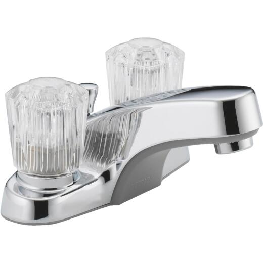Peerless Core Chrome 2-Handle Knob 4 In. Centerset Bathroom Faucet with Pop-Up