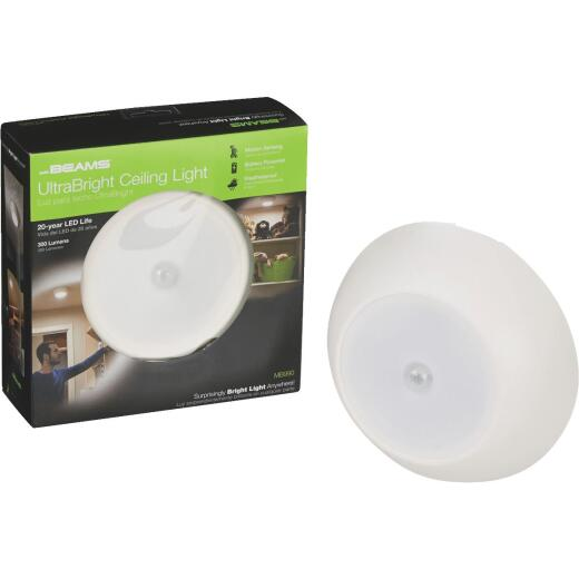 Mr. Beams UltraBright 300-Lumen White Motion Sensing/Dusk-To-Dawn Outdoor Battery Operated LED Ceiling Light Fixture