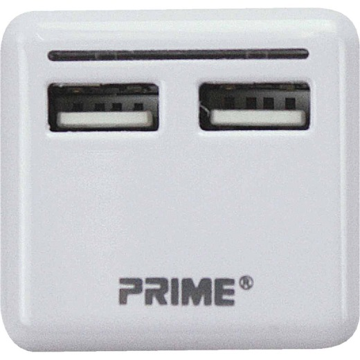 Prime Wire & Cable 2-Port White USB Charger