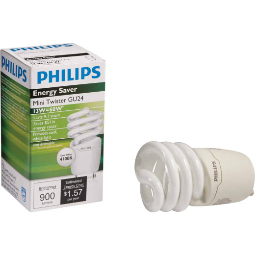 Philips Energy Saver 60W Equivalent Cool White GU24 Base Spiral CFL Light Bulb