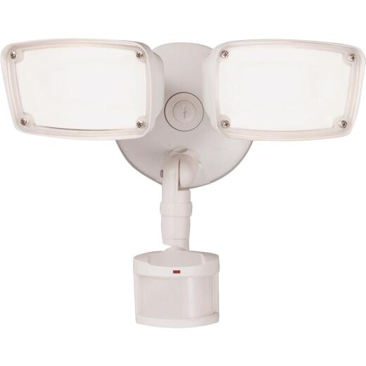 Halo White Motion Sensing LED Twin Head Floodlight Fixture