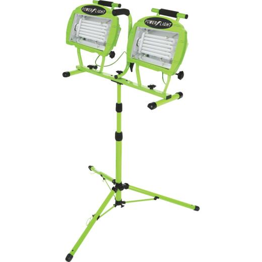 Designers Edge Power Light 9600 Lm. Fluorescent Twin Head Tripod Stand-Up Work Light
