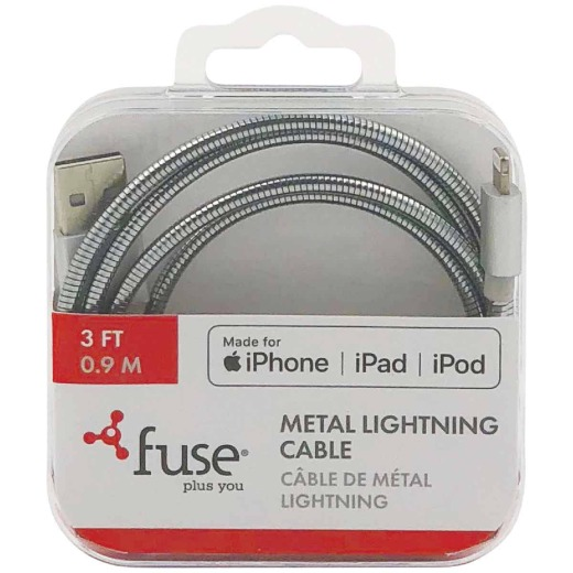 Fuse 3 Ft. Metal USB to Lightning MFI Lightning Cable