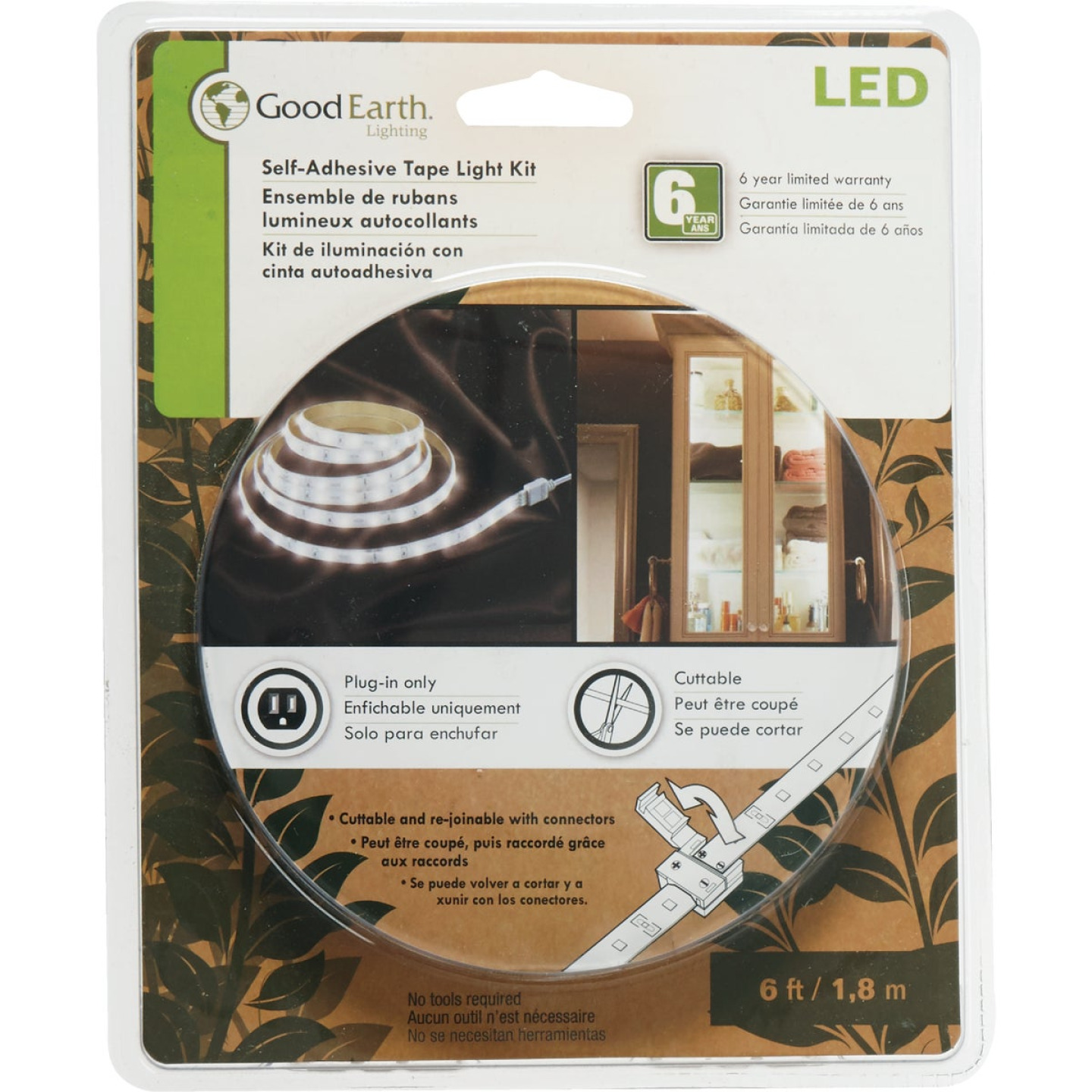 Good Earth Lighting 6 Ft. L. Plug-In White LED Under Cabinet Tape Light Image 1