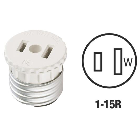Leviton 600W 120V White Light Socket Adapter