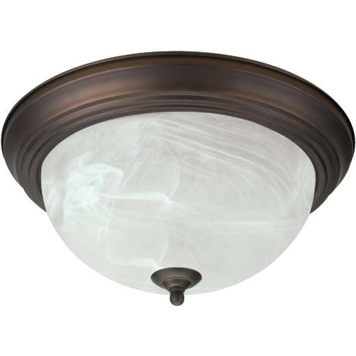 Home Impressions 15 In. Oil Rubbed Bronze Incandescent Flush Mount Ceiling Light Fixture