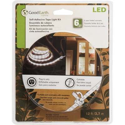 Good Earth Lighting 12 Ft. L. Plug-In White LED Under Cabinet Tape Light
