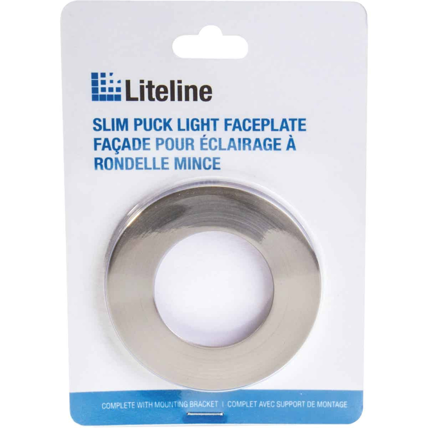Liteline Brushed Nickel Magnetic Slim Puck Light Trim Ring Image 1