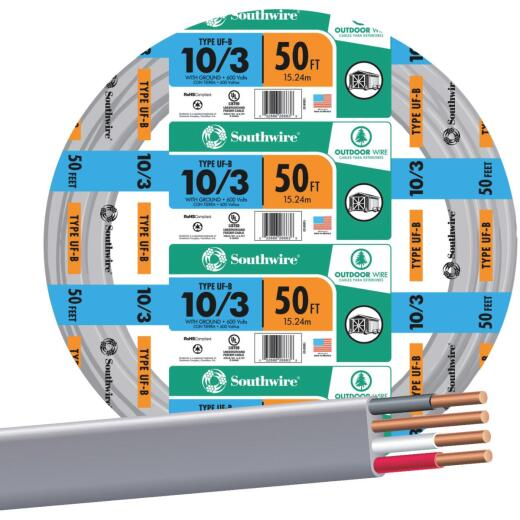 Southwire 50 Ft. 10 AWG 3-Conductor UFW/G Wire