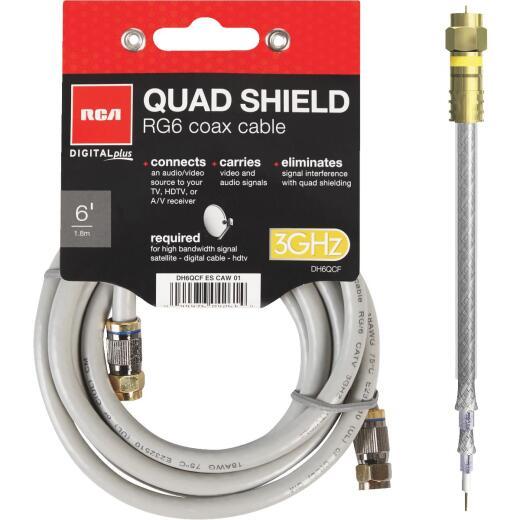RCA 6 Ft. Gray Digital Plus Quad RG6 Coaxial Cable