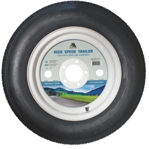Marastar 205/75D15 Load Range C 5-Lug Trailer Tire and Wheel
