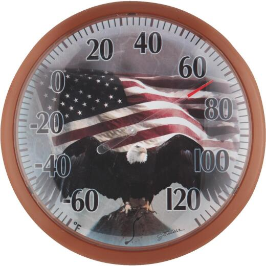 "Taylor SpringField 13-1/4"" Dia Plastic Dial Flag Indoor & Outdoor Thermometer"