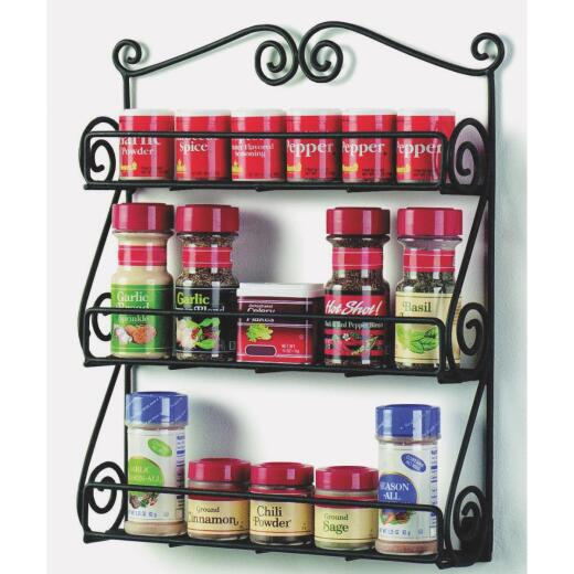 Spectrum Black Scroll Wall Mount Spice Rack