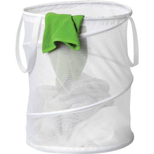 Honey Can Do 19 In. x 14 In. Dia. White Mesh Pop Open Hamper