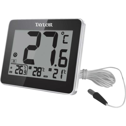 Taylor 8 In. W. x 6 In. H. Plastic Digital Indoor & Outdoor Thermometer