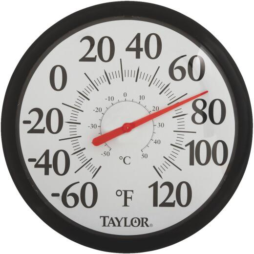 "Taylor 13-1/2"" Fahrenheit and Celsius -60 To 120 F, -50 To 50 C Outdoor Wall Thermometer"