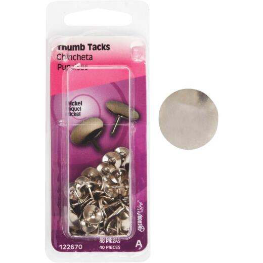 Hillman Anchor Wire Nickel 23/64 In. x 15/64 In. Thumb Tack (40 Ct.)