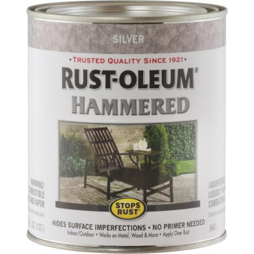 Rust-Oleum Stops Rust Hammered Paint, Silver, 1 Qt.