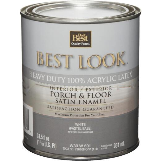 Best Look 1 Qt. White Heavy-Duty Acrylic Latex Satin Porch & Floor Enamel