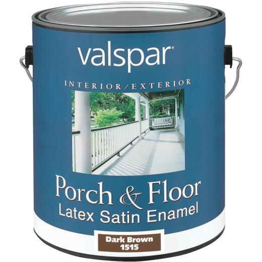 Valspar 1 Gal. Dark Brown Self Priming Latex Satin Porch & Floor Enamel