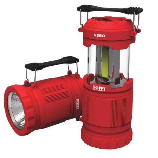 Nebo Poppy 7.79 In. H. x 3.58 In. Dia. Red Rubberized Plastic LED Lantern