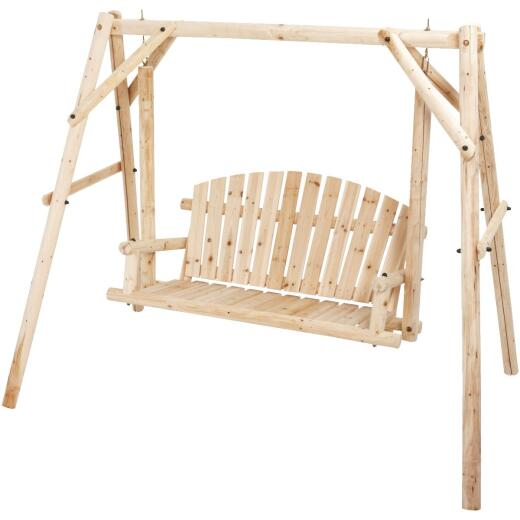 Jack Post North Woods 2-Person 71 In. W. x 67 In. H. x 55 In. D. Natural Log Patio Swing with Canopy