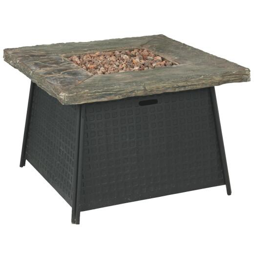 Moreni 34 In. Black Square Metal Gas Fire Pit