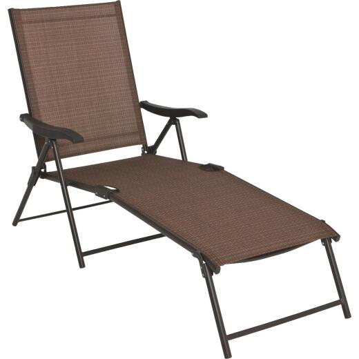 Outdoor Expressions Orleans Brown Folding Chaise Lounge