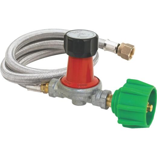 Bayou Classic 48 In. Stainless Steel High Pressure LP Hose & Adjustable Regulator