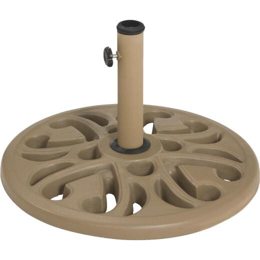 Outdoor Expressions 20 In. Round Tan Polyresin Umbrella Base