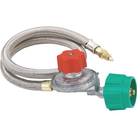 Bayou Classic 36 In. Stainless Steel Low Pressure LP Hose & Adjustable Regulator