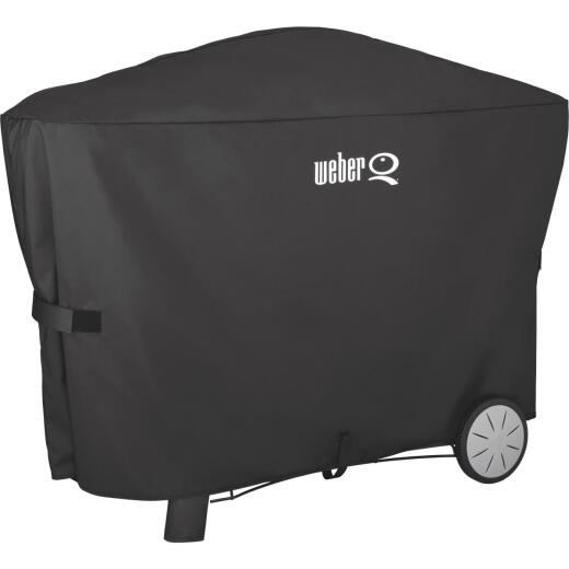 Weber Q 2000 with Q Cart & 3000 56.6 In. Black Vinyl Grill Cover
